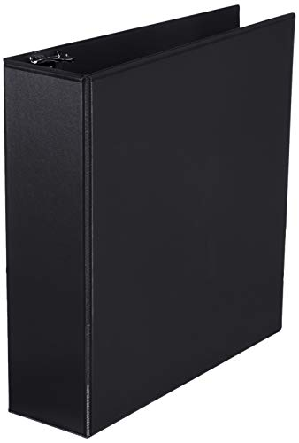 Amazon Basics 3-Ring Binder, 1.5 Inch - 4-Pack (Black)