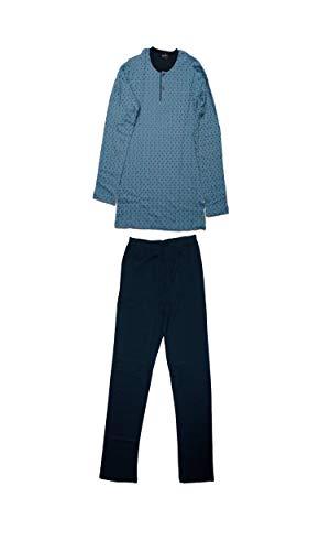 CI.TI Nightwear Pigiama Lungo Uomo Cotone Interlock (Tg.XS/46', Avio/Blu)