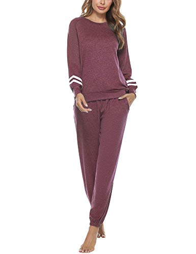 Akalnny Pijamas Mujer Algodón Mangas Largas Cómodo Suave Conjunto de Casa Dormir Pantalón y Camiseta Pijamas Completa