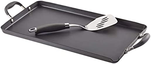 Anolon Advanced Hard Anodized Nonstick Griddle Pan/Flat Grill, 18 Inch x 10 Inch, Gray