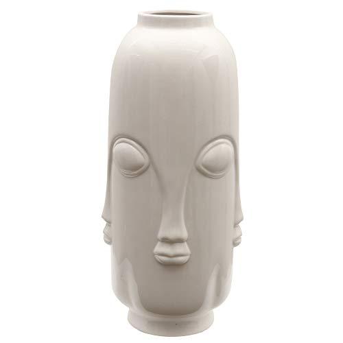 TERESA'S COLLECTIONS bloemenvaas 40cm witte grote keramische vaas Italiaans abstract menselijk gezicht ontwerp voor woonkamer, kantoor en bruiloft of als een kerstcadeau