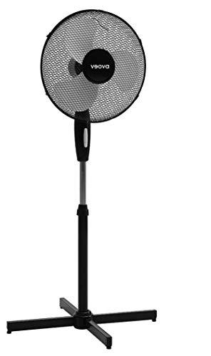 Veova Cooling Fan ECO Ventilatore a piantana | Ventilatore molto silenzioso e regolabile in altezza con funzione oscillante automatica | 3 livelli di potenza | Design nero