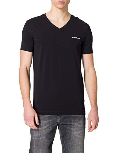 Calvin Klein Jeans Herren Micro Slim Stretch V Neck Tee T-Shirt, Ck Schwarz, S