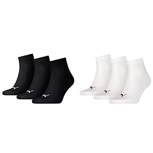 Puma Unisex Quarters Socken Sportsocken 6er Pack (3x black 3x weiß, 43-46)