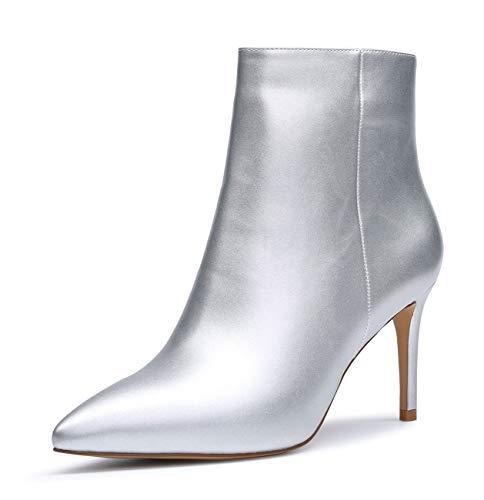 CASTAMERE Botas Cremalleras Mujer Tacón de Aguja Botines Tacón Medio 8CM Plateado PU Zapatos EU 39.5