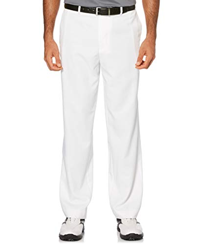 PGA TOUR Men's Flat Front Golf Pant with Expandable Waistband, Bright White, 32W x 30L