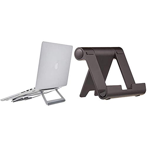 AmazonBasics Aluminium Foldable Laptop Stand for Laptops up to 15', Silver & Multi-Angle Portable Stand for Tablets, E-readers and Phones - Black