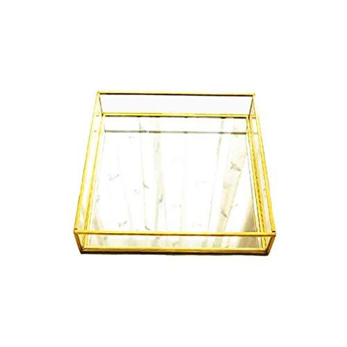 Love lamp badkamer dienblad gouden spiegel sieraden opbergdoos wastafel tray dresser decoratie tray badkamer slaapkamer cosmetica messing glazen houder