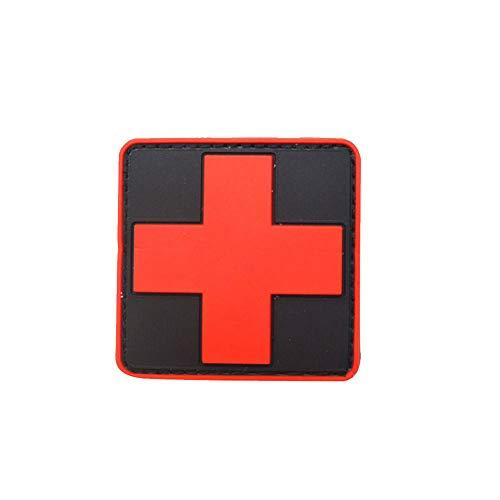 Medic Cruz Roja Brazalete PVC Cruz Parche Caucho Cruz Roja Insignia Brazalete Negro Rojo 1pc Cruz Parche