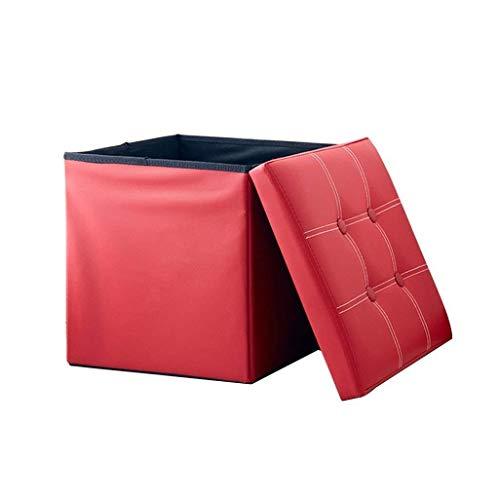 PanYFDD Reposapiés plegable Taburete cambiador de zapatos tapizado Reposapiés de cuero sintético con cojín ForFlur Máx. 150 kg 35 x 35 x 35 cm (tamaño: rojo)