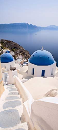 Bilderdepot24 Türtapete selbstklebend | Santorini Blick | in 90x200 cm | einteilig Türaufkleber Türfolie Türposter | Wand-deko Dekoration Wohnung | 11495a
