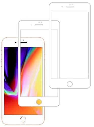 Eachy Cristal Templado iPhone 8 Plus/iPhone 7 Plus Vidrio Templado, [2 Unidades] Protector de Pantalla iPhone 7 Plus/iPhone 8 Plus Cobertura Completa 5,5 Pulgadas-Blanco
