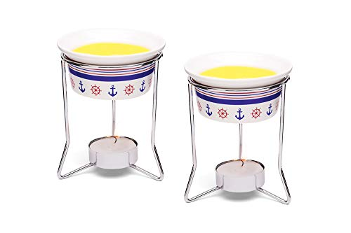 Nantucket Seafood Nautical Seafood Butter Warmer Cups, Set of 2, White