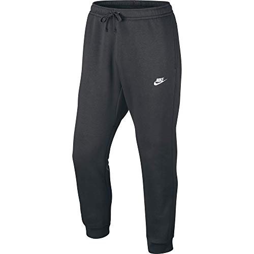 Men's Nike Sportswear Club Jogger Sweatpant, Fleece Joggers for Men with Pockets, Charcoal Heather/White, L
