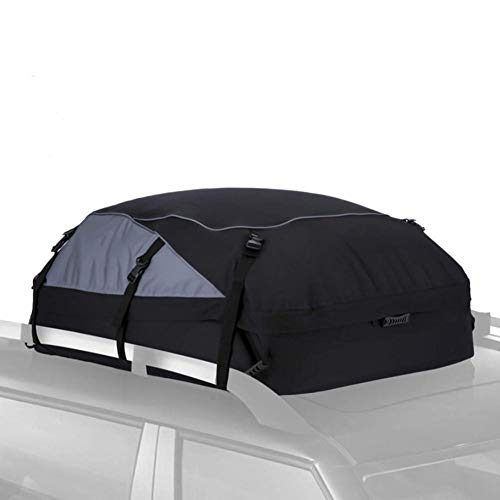 15 Cubic Feet Car Roof Bag, Roof Cargo Carrier Bag, Waterproof Excellent Quality Rooftop Cargo Box, with Storage Bag+ 8 Reinforced Straps for All Vehicle with/Without Rack