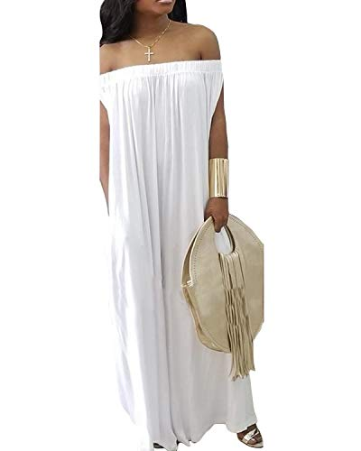 BONESUN Womens Off Shoulder Loose Wide Leg Palazzo Pants Jumpsuit Long Rompers Summer Casual Plus Size White M