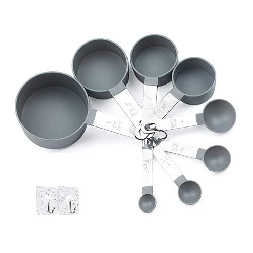 Messbecher und Löffel-Sets mit Edelstahlgriff, Kunststoff, für die Küche, stapelbar, Messwerkzeug für Flüssigkeiten und Feststoffe, zum Backen und Kochen
