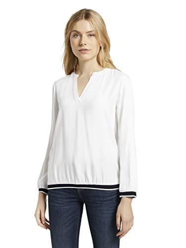 TOM TAILOR Damen Blusen, Shirts & Hemden Henley-Bluse mit Tapedetail Whisper...