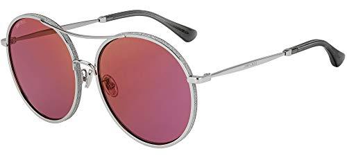 Gafas de sol Jimmy Choo (LENI F S YB 7 AO) plateadas con purpurina ciruela espejo YB7AO metal plateado – plateado con purpurina ciruela – Espejo