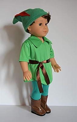 "Handmade Doll Clothes Peter Pan Costume Disney fit 18"" American Girl Boy Dolls Halloween"