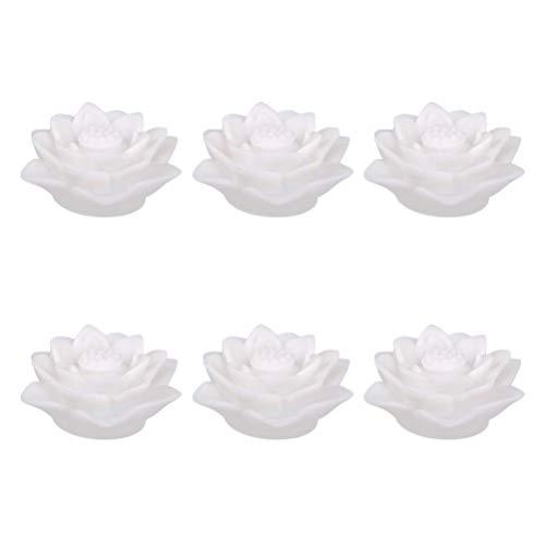 PIXNOR 6 Stücke Teichlicht Lotus Licht LED Kerzen Schwimmende Blumen Lotusblume Künstliche Seerosen Lotusblüte Lotusblatt Teichbeleuchtung Pool Lampe für Teich Garten Deko(Zufällig)