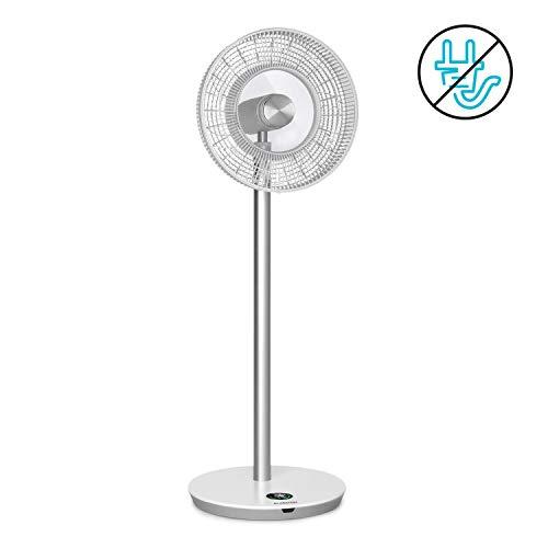 KLARSTEIN Whisperwind - Ventilador Vertical, Batería de Iones de Litio, Flujo de Aire 1.531 m³/h, 3 Vientos, 12 velocidades, Oscilación, 30 W, Mando a Distancia, Pantalla LCD, Inalámbrico, Blanco