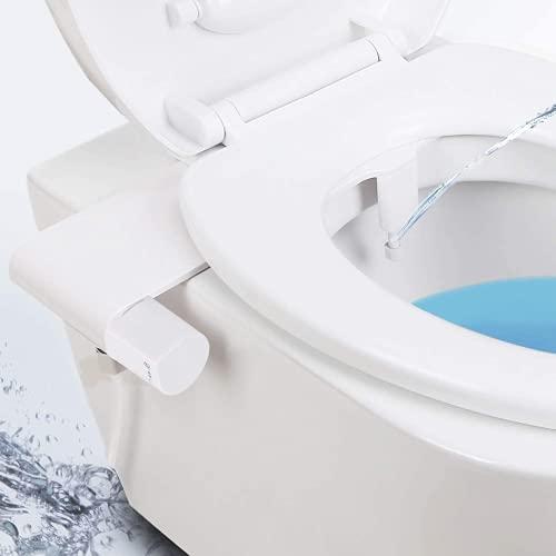 Bidet-Aufsatz mit Süßwasser, Nicht Elektrisches Ultradünnes Bidet-Zubehör, Verstellbare Düse & Einfach zu Steuernder Toilettenaufsatz, Sanftes Spülen, Papier Sparen, Spray & Hygienisches Schutz-Weiß
