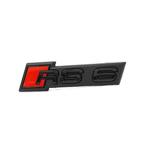 Audi 4K0853736DT94 Schriftzug RS6 (C8) Kühlergrill Emblem Black Edition Logo Clip Plakette, schwarz/rot