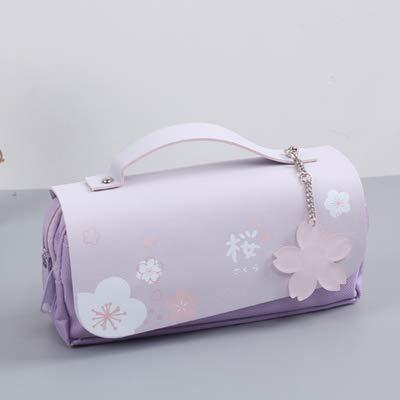 Sakura - Estuche de piel sintética para lápices, para papelería, regla, para escuela, niña, caja de regalo, almacenamiento de flores (color morado)