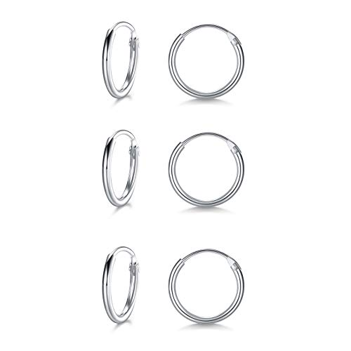 LYTOPTOP 3 Pairs Silver Hoops Earrings for Women S925 Sterling Silver Small Hypoallergenic Earrings Set Cartilage Nose Lip Rings for Men Girls, 8mm