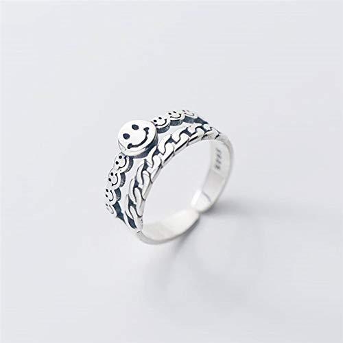 Anillo abierto para mujer de doble capa Retro cadena linda Smiley Happy plata de ley 925 anillo de apertura ajustable
