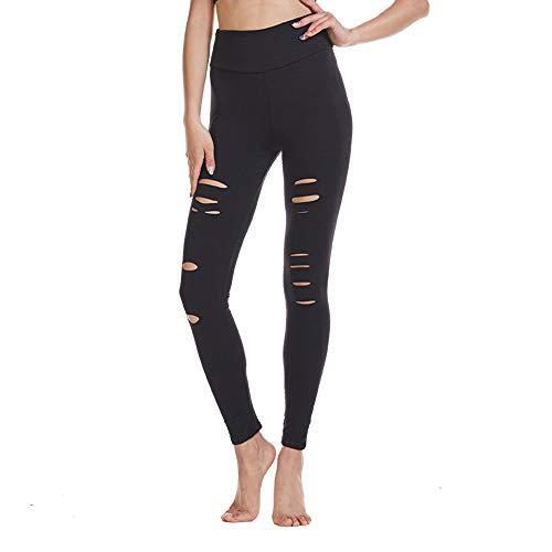 FOXWISH High Waist Yoga Pants Cutout Ripped Skinny Leggings for Women Super Soft and Comfortable Black M