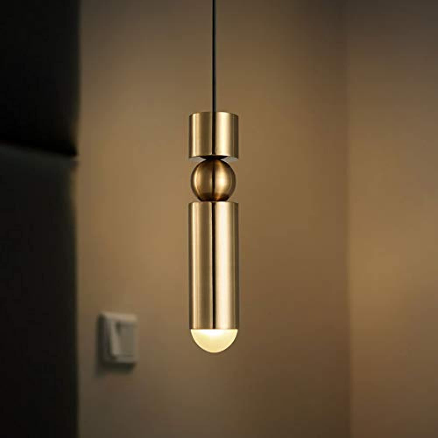 Jiuzhuo Contemporary Minimalist Mini Cylinder and Globe Metal&Acrylic Single Light Pendant Lighting Hanging Ceiling Fixture in gold
