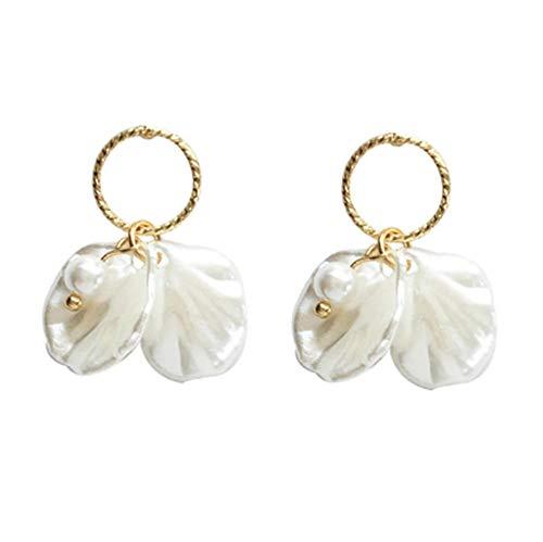 Yhhzw Süße Schmuck Ohrringe Runde Textur Kreis Weiß Kleine Blütenblätter Blume Tropfen Ohrringe Frauen Schmuck Mädchen Geschenke