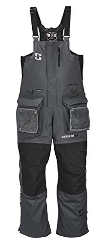 StrikerICE Predator Bib with Sureflote Technology, Insulated & Waterproof, L, Gray