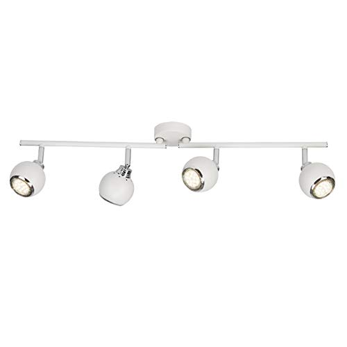 Brilliant Ina LED Spotrohr 4 flg Deckenstrahler schwenkbar weiß/chrom 1000 Lumen, 4x GU10 3W LED-Reflektorlampen inklusive