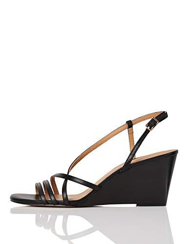 Amazon Brand - find. Wedge Strippy Sandal Ankle Strap Heels, Black, 5 UK