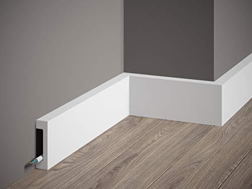 MARDOM DECOR Sockelleiste I MD008 ScratchShield® I moderne Fußbodenleiste Bodenabschlussleiste I 200 cm x 8,0 cm x 1,7 cm