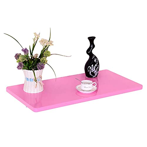 Fold Up Table Wood Wall Mounted Table, Stable & Sturdy Construction, Folding Wall Table Wall Desks for Small Spaces, Easy to Install (Color : Pink, Size : 30cm×90cm)