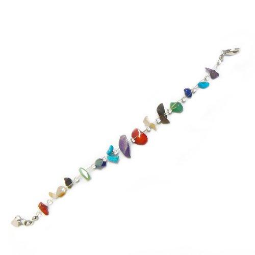 Chic-Net de piedra de la viruta de la pulsera de piedras de colores de grano de la hebilla del metal de las señoras 19cm-22cm sin níquel