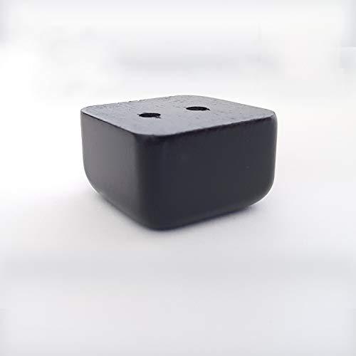 4x Möbelfüße Holz Sofafuß Tischfuß Möbelfuß Schrankfuß Holzbeine gerade eckig Buche/Eiche (3 x 5 x 5 cm (HxBxT), Schwarz)