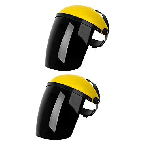 perfeclan Casco con protección facial completa antivaho Sombreros ligeros Visera ancha Casco de soldadura de pulido Protector facial reutilizable profesional - amarillo top negro