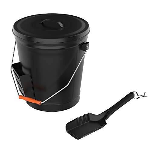Pure Garden 50-210 4.75 Gallon Black Ash Bucket with Lid and Shovel-Essential Tools for Fireplaces, Fire Pits Wood Burning Stoves-Hearth Accessories