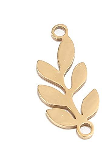 Quani 5 unids / lote de acero inoxidable Bohemia pulido de pulido de árboles Conectores de encanto colgantes BRICOLAJE Pendientes de pulsera Joyas de fabricación de suministros ( Metal color : Gold )