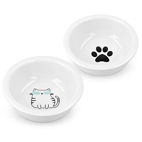 Navaris Futternapf Katze Futterstation Set - Keramiknapf für Katzen Hunde - Keramik Fressnapf Set Futterbar Katzennapf - spülmaschinenfest