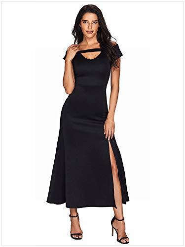 Thumby-Girl doek Grote Maat Dames Korte V-hals Sexy Off-Shoulder Jurk met Split Jurk, Zwart, XL