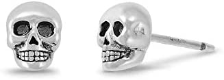 Boma Jewelry Sterling Silver Skull Skeleton Stud Earrings product image