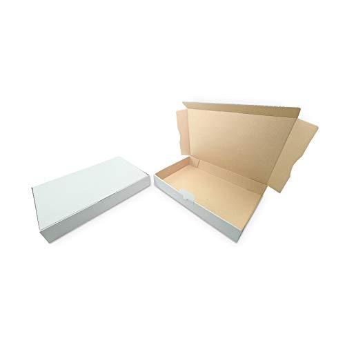 100 Maxibriefkartons Versandkartons Faltschachtel Faltkarton Maxibrief 320 x 225 x 50 mm, Weiss, MB-4