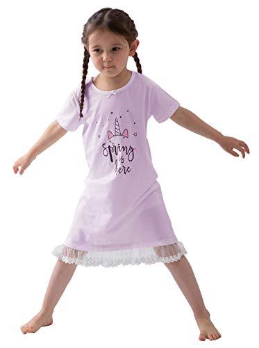 パジャマ ネグリジェ プリンセス 女の子 綿 ワンピース キッズ ガールズ ナイトウェア 半袖 レース ゆったり 柔らかい 可愛い 部屋着 寝巻き … (柄あり, 140)