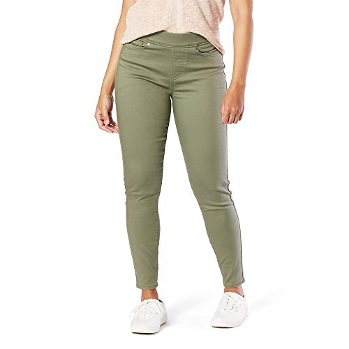Signature by Levi Strauss & Co. Gold Label Women's Totally Shaping Pull-On Skinny Jeans, Deep Lichen Green, 12